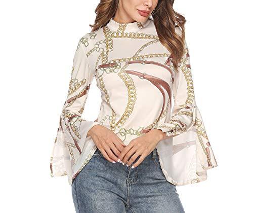 Hoverwin Damen Elegant Bluse Langarmshirt Casual Hemd Oberteil Tops Shirts mit Trompetenärmeln (M, Weiß)