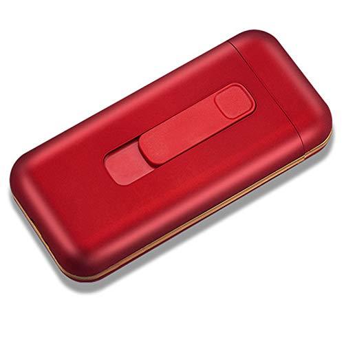 HQPCAHL Caja De Cigarrillos con Encendedor Caja De Cigarrillos Portátil 20Pcs 100S Cigarrillos Delgados Encendedores USB 2 En 1 Encendedor Eléctrico Recargable Sin Llama A Prueba De Viento,Rojo