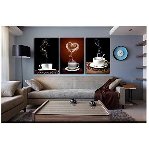 sjkkad canvas schilderij koffie 3 panelen restaurant schilderwerk canvas kunst wooncultuur moderne afbeeldingen als uniek geschenk -50x70cm geen lijst