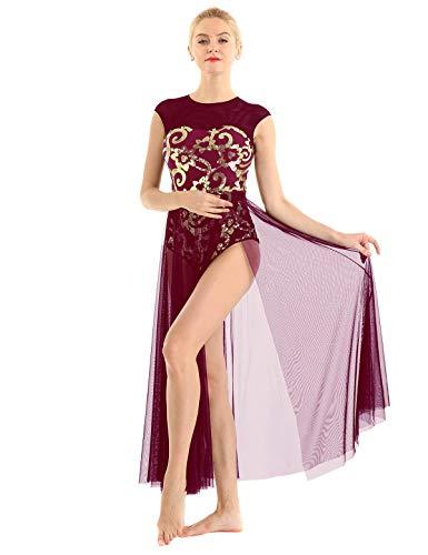 inhzoy Vestido de Danza Ballet Lentejuelas para Mujer Maillot Tutú Leotardo de Gimnasia Patinaje Vestido de Danza Lírica Contemporánea Traje Bailarina Fiesta Vino Rojo Small
