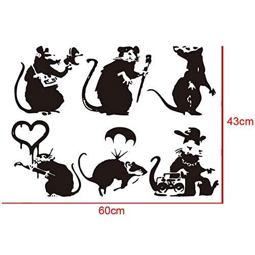artaslf Banksy Sammlung von Ratten Set von 6 Ratten Wandaufkleber für zu Hause und Wohnzimmer Aufkleber 60 x 43 cm