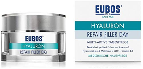 Eubos | Hyaluron Repair Filler Day | 50 ml | 3-fach Hyaluron | ohne Mineralöle | Faltenmindernde Tagespflege