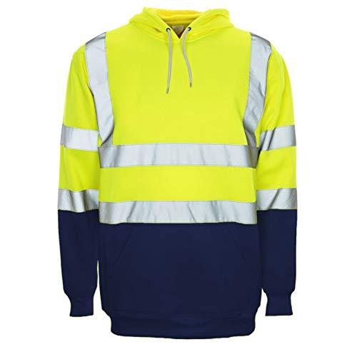 Janisramone Hommes Hi Vis Visibilité Toison Viz Réfléchissant sécurité Travail Porter Sweat-Shirt Sweat à Capuche Veste
