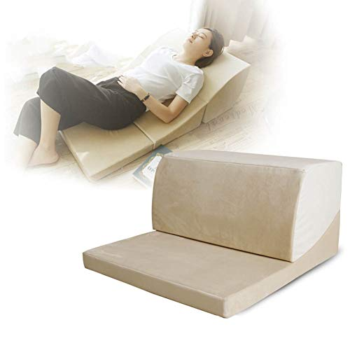 Wedge Pillow, Foldable Acid Reflux Pillow Wedge Pillow Support Cushion with Washable Cover, Reduce Back Pain, Snoring & Respiratory