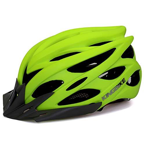 WOW Casco de la Bicicleta con luz de Seguridad LED, Certificado CE Ajustable montaña Specialized y Calles Casco del Ciclo Hombres Mujeres Super Light el Casco Adulto con Visera Desmontable,Verde