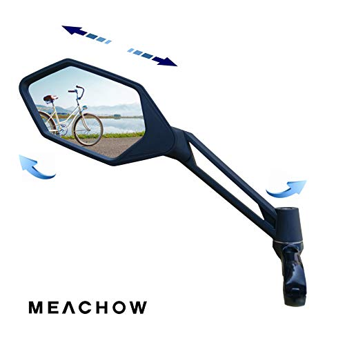 MEACHOW New Scratch Resistant Glass Lens,Handlebar Bike Mirror, Adjustable Safe Rearview Mirror, Bicycle Mirror (Sliver Left Side) ME-005LS