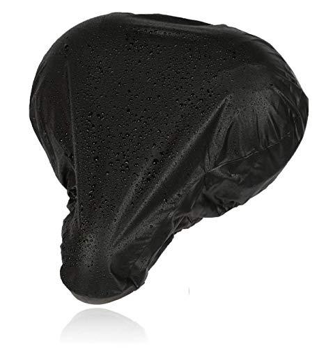 CYCLEHERO Sattelbezug wasserdicht breiter schwarzer Sattelschutz für das Fahrrad 26x23cm - wasserfester Regenschutz mit Gummizug und Transporttasche für Rennrad, Mountainbike und Trekkingrad