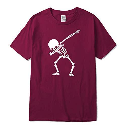 CHWEI Knitted Hat T-Shirts Mode Coton Décontracté À Manches Courtes T-Shirt Drôle O-Cou Tissu Confortable Style Urbain Hommes Femmes T-Shirt Impression Dancing Skeleton Man-H