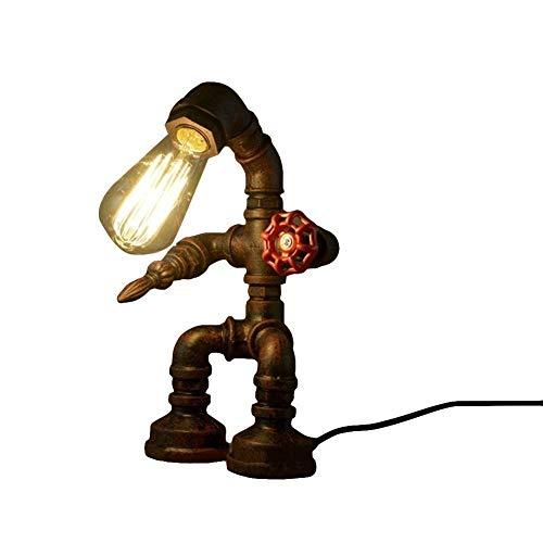 GAO XING SHOP lámpara de mesa Vintage, lámpara de mesa, robot de pipa de agua, Steampunk Motent Industrial, lámpara de mesa de hierro oxidado antiguo