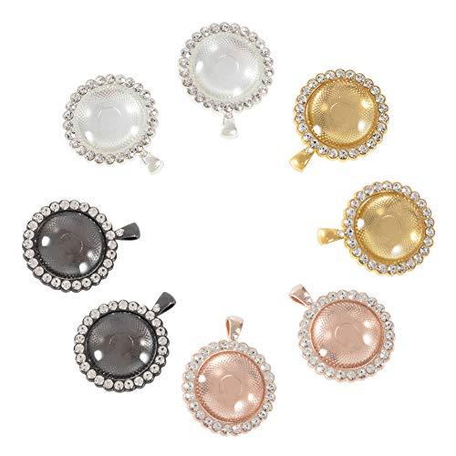 NBEADS 32 Pieza de Colgante de Bisel de Diamantes de Imitación, Bandejas Base Cabujones Configuración Bandejas Colgantes En Blanco con Cabujones de Vidrio para Hacer Joyas