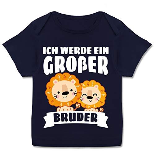 Geschwisterliebe Baby - Ich werde EIN großer Bruder mit Löwen - weiß - 80-86 - Navy Blau - Geschwister - E110B - Kurzarm Baby-Shirt für Jungen und Mädchen