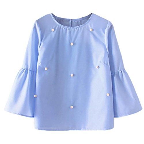 DEELIN Manga Larga De Las Mujeres De Manga Larga con Cuello Redondo Y Mangas De Trompeta Color Liso Blusa Decorativa De Perlas De La Camiseta
