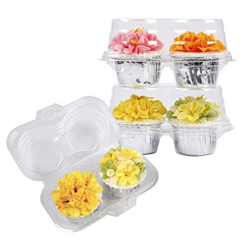 Sharlity Plastic Cupcake Containers 2 Compartment Disposable Cupcake Holders Plastic Cupcake Carrier with Deep Dome(50 Pack)