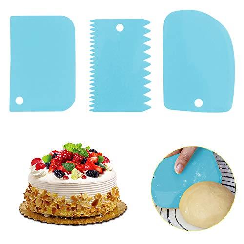 Plastic Cake Scraper Spatula Set 3PCS, Dough Cutter Scraper Dough Bowl Scrapers Plastic Dough Icing Fondant Scraper Cake Decorating Plain (Blue)