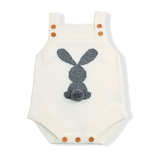 mimixiong Baby Knit Rompers Clothes Toddler Jumpsuit Easter Bunny Sleeveless Outfit (70,White)