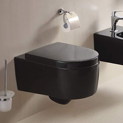 Lux-aqua STR2044-18 - Sedile WC sospeso in Duroplast con sistema Soft-Close, nero