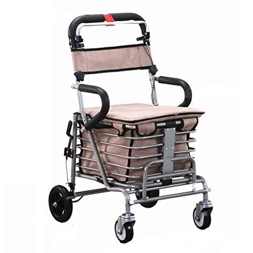 Lichtgewicht Vouwen 4 Wiel Rollator Wandelaar/Winkelwagen Inklapbare Trolley/Ouderen Ouderdom Wandelstoel kan nemen om voedsel te kopen om te helpen Duw de kleine Cart-41x47x86-90cm Grijs