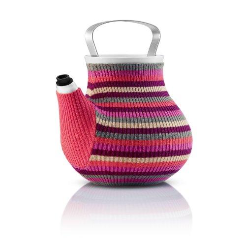 Eva Solo My Big Tea Théière, Avec Couvercle, Chaussette de Théière, 1,5 L, Rose Rayé, 567417