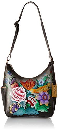 Anuschka Women's Genuine Leather Classic Hobo With Studded Side Pockets - Vintage Bouquet