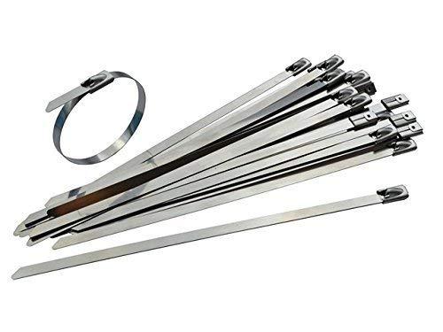 Lot de 25attaches de câbles en acier inoxydable– 200mm x 4,6mm–Haute Qualité 316Qualité Marine en métal par Gocableties