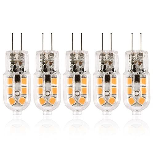 OeyeO G4 - Bombilla LED de 2 W, blanco frío, 3000 K, 2 pines, 12 V, bombilla equivalente a 15 W, halógena, de repuesto, 360°, regulable, para dormitorio o cabina – plástico, 5 unidades