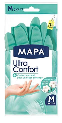 Mapa - Ultra Confort - Gants de Ménage En Latex Doublure Textile 100% Coton - Confortables pour Un Usage Prolongé -1 Paire - Taille M