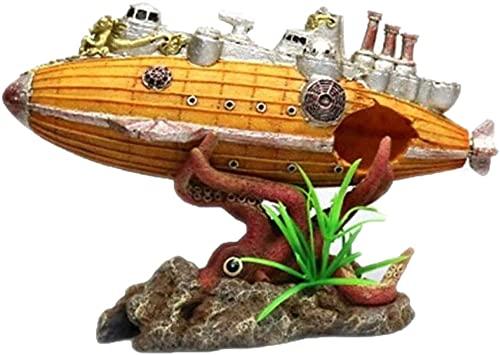 Hundido Barco Escultura Ornamento Resina Pecera Decoración Octopus Refugio Casa Acuario Acuario Planta Jardín Amarillo 22.5x8x15cm MUMUJIN (Color : Yellow)