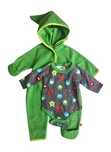Baby Boy Hooded Fleece Bodysuit Elf Romper with Fold Over Cuffs & Long Sleeve Snap Onesie Set (Apple, 6 Months)