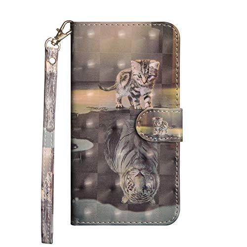 Coopay Glitzer 3D Fläche Schutzhülle für Huawei Mate 20 Lite,Hülle Kunstleder Wallet Hülle mit Standfunktion Kartenfach Handschlaufe Flip Lederhülle Brieftasche + Schlüsselband, Haustier Katze Tiger