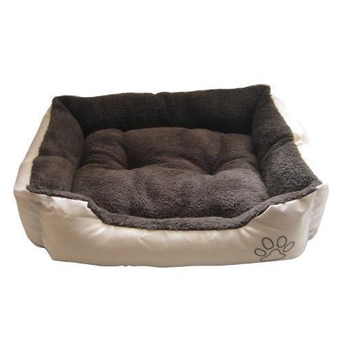 Suave Cama para perro, Beige exterior interior de color marrón oscuro-Small-ntd9745yr