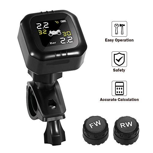 Tpms Motorrad Reifendruckkontrollsystem mit 2 Sensor, LCD Display, Anti Diebstahl & Wasserdicht Reifendrucküberwachung Reifendruck-Autoalarmsyste