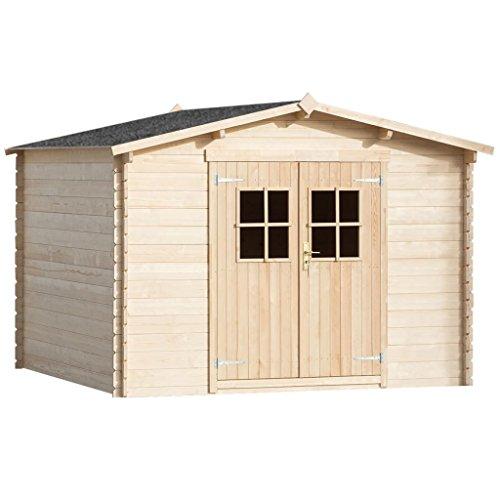 EXJOY 28 mm Gartenhaus Laube/Blockhütte 3x3 m Holz