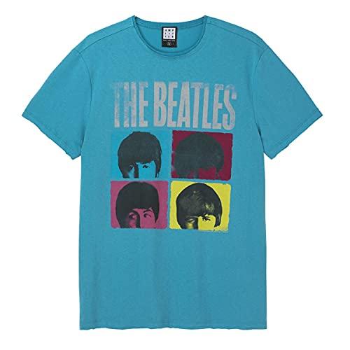 Amplified Camiseta unisex de The Beatles Hard Days Night, azul, The Beatles Hard Days Night Teal, XS
