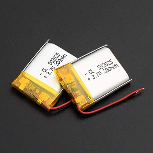 TTCPUYSA 3.7v 200mah 502025 Li Po Polymer Li Ion Batteria, Ricaricabile per Altoparlante Mp3 Mp4 Tachigrafo 502025200mAh2pcs