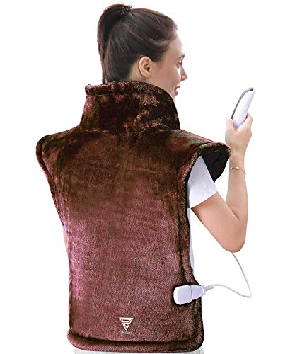 Zircon Electric Heating Pad for Neck and Shoulders XXLarge Heating Pad for Back Pain with Auto Off 4 Temperature Settings Fast Heating 24quot x 33quot Brown
