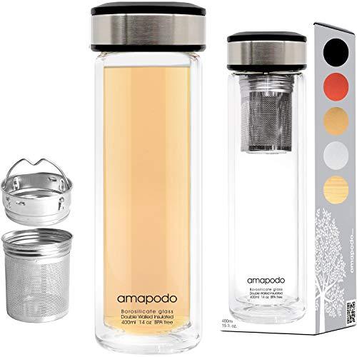 amapodo Teeflasche mit Sieb to go - Tee-Glas Flasche doppelwandig isoliert - Teekanne mit Siebeinsatz - Trinkflasche Glas 400ml