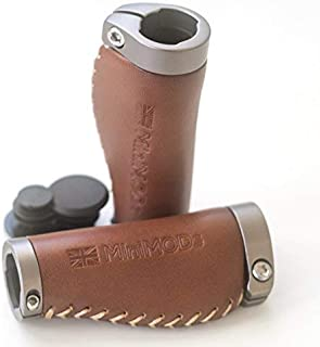 Short Ergonomic Leather Grips for Brompton M/H/S Type Handlebar Brown Mini-ERG-S-BR