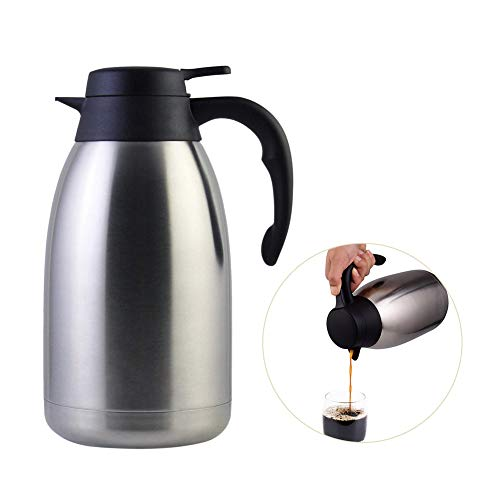Stainless Steel Thermal Coffee Carafe Double Walled Vacuum Tea Carafe 2 Liter Insulated Coffee Thermos, Water & Beverage Dispenser Premium Grade Thermal Pitcher with Lid