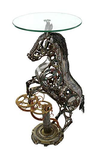 DARO DEKO - Mesa auxiliar con diseño de caballo (metal reciclado y tablero de cristal, 56 x 101 cm)