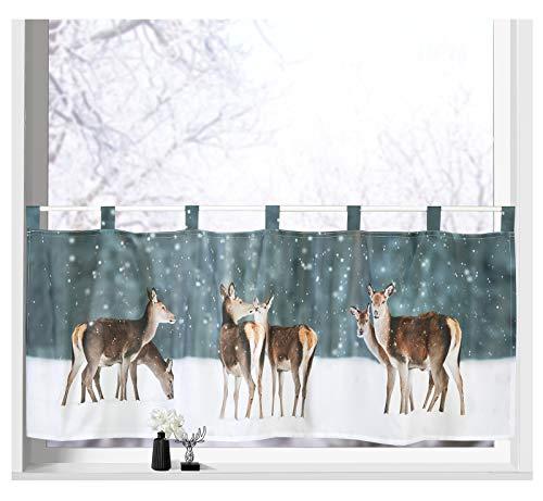 heimtexland ® Scheibengardine Weihnachten Dekoration Fenster-Deko Gardine Typ651 (Rehe)