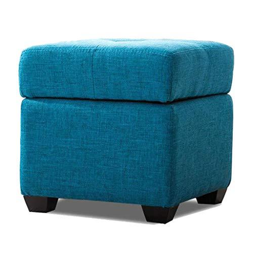 Rangement chaussure banc en bois tissu carré siège canapé repos salon balcon couloir multicolore en option 40 cm * 40 cm * 40 cm (Couleur : Blue-blue)