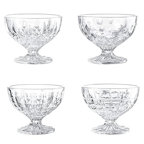 8 Ounce Clear Glass Dessert Bowls - Set of 4 Different Patterns