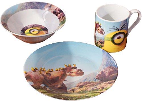 Minions Set pour le petit déjeuner Minions et dino, assiette, bol et tasse en porcelaine