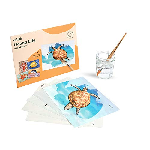 Relish Aquapaint 'Ocean Life' Pack of 5 Designs Reusable Water Painting Art Activity for Alzheimer's/Dementia