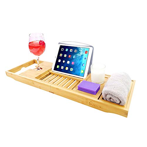 PURENJOY Bamboo Bathtub Tray Caddy Expandable Bath Caddy Tray for Luxury Bathtub Bathroom Organizer with Book and Wine Holder Gift for Loved Ones