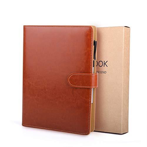 BESTOO Notizbuch A5 Leder Filofax Nachfüllbare Tagebuch Executive Konferenzmappe 6 Ring-buch 200 Dicke Seiten, Geschenk für Männer und Frauen(Braun)