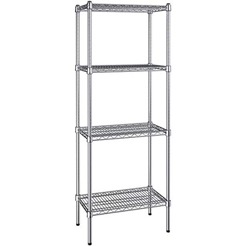 Sharehouse 4-Shelf Shelving Storage Unit Shelf Organizer,Storage Shelves Heavy Duty, Metal Organizer Wire Rack Garage Shelving,Black(21.6L x 14W x 43.3H Inch)