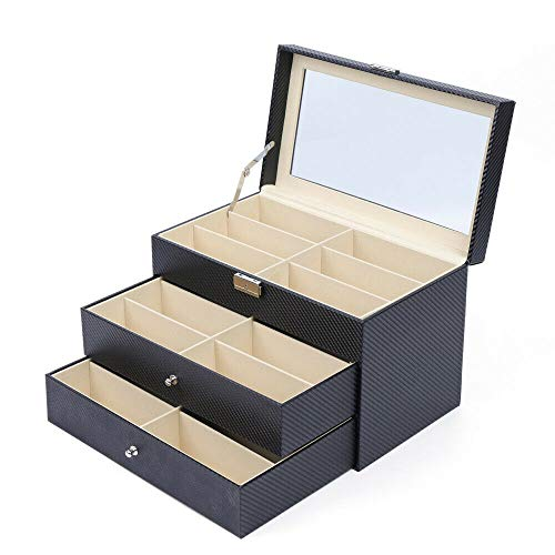 sunglasses set with cases Eapmic Sunglasses Case, 2 Layer 18 Grids Eyeglass Sunglass Display Box Drawer Black Carbon Fiber PU Eyewear Storage Case Collector for Women Men