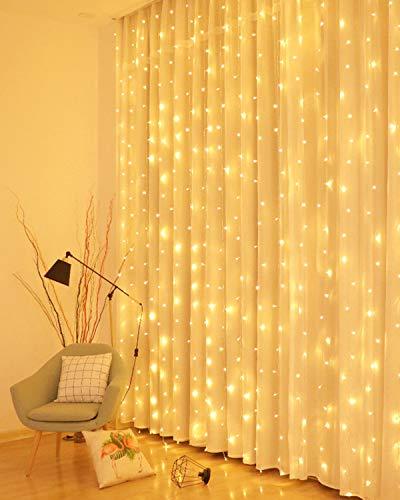 LED Lichtervorhang, 3 * 3M 300er Lichterketten Vorhang USB Fenster Lichterkette Wand mit Fernbedienung&Timer 8 Modi Wasserfall Lichterkette Innen Weihnachten Deko für Party Hochzeit Zimmer-Warmweiß