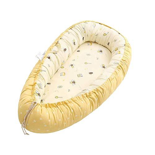 Baby Nest,Multifunzionale Lettino da Viaggio,Riduttore Lettino Neonato,Neonato Antisoffoco Riduttore per 100% cotone fasciatoio per neonato e neonati(Ape gialla)